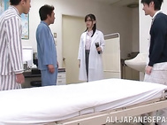 Lusty Japanese female doctor Tsukasa Aoi gets fucked by her patients.