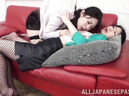 Lovely Japanese lesbian chicks Misa Yuuki and Hitomi Honjou cannot stay long without each other.