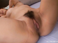 Naked Amami has hots for this hunk dude and its time she had her pussy drilled.