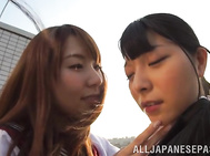 Naughty Asian lesbians Yui Hatano, and Ai Uehara lick tits and pussies.