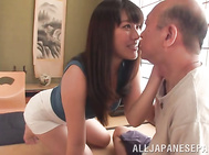 Naughty Japanese milf Miki Sunohara sucks and rides cock gets cum in mouth.