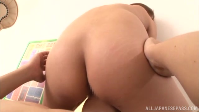 Sexy Japanese milf with slender body, Miyu Kotohara rides on cock of her sex partner and than stuffs her mouth with his cock and deepthroats her boyfriend in 69 position.