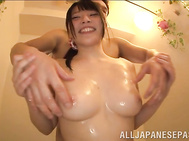 Nice looking schoolgirl with big tits Ai Uehara enjoys sex in a shower.