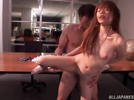 as she was soon to find out, her horny boss also stayed late at the office and before you know it, naughty beauty was having rough sex with him and his assistant too.