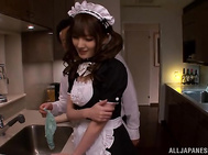 Peachy Asian maid Tsubasa Amami is seduced by horny boss.