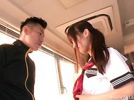 Pigtailed schoolgirl Rimu Sasahara gets fucked by her horny coach.