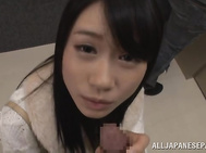 Risa Hitomi hot Asian chick sucks cock in public.