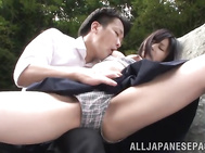 She suddenly gets captured by one horny dude who likes to fuck young girls, and he teases and fucks her lovely pussy extremely hard, and she gets her mouth stuffed with his big dick and gives the horny guy a perfect sucking.