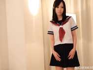 Schoolgirl Shiori Yamate receives a fat dick in her tiny pussy.