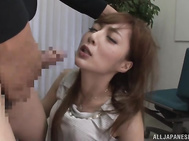 lip smacking Asian doll Fuyutsuki Kaede is carries on with her daily routine unaware of the lurking chance of a good pussy licking.
