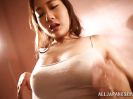 Sexy dress exposes busty Asian lady Misa Kudou.