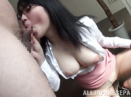 The guy gets fascinated by her revealed big tits, and her bubble booty, and stuff sher head with his boner, getting it sucked properly and feeds the hottie with his semen.