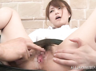 Alluring Japanese AV hottie Akiho Yoshizawa looks great in her office suit and sexy pantyhose.