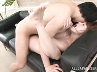 He starts to finger her juicy pussy and to stimulate it with sex toys, and the cutie sucks his boner and enjoys it in her pussy from behind, swallowing hot cum load!.