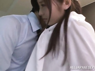 Sexy office lady in black pantyhose Rina Ishihara enjoys oral sex.