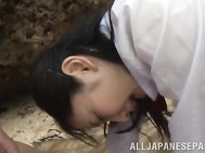 Naughty Japanese schoolgirl Erika Momotani goes crazy having hot sex with her boyfriends on the beach.