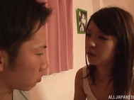 Naughty young Japanese hottie feels quite tired but she can't say no to a tasty dick as her guy feels like having sex in the middle of the night.