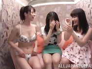Three lesbian chicks Tsubaki Kato and her friends drill pussies with toys.