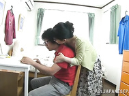 Attractive Japanese AV Model is a mature chick who likes to fuck with young handsome guys.