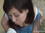 Busty Japanese mature woman arranges hot solo pussy rubbing.