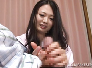 Sweet Japanese lady with big nice jugs Nachi Kurosawa finds out her boyfriend sitting with his pants pulled down.