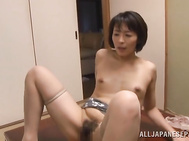 Naughty milf moans hard and undulates while cock riding, having the guy's whole cock pounding her hard and creaming her wet pussy with jizz.