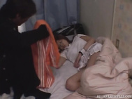 Hot busty Japanese mature lady rubs her itching pussy hard.
