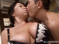 Chubby Japanese mature babe Natsuko Kayama gets nailed by big hard cock.