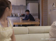 Mature Asian beauty Rei Aoki gives steamy blowjob.