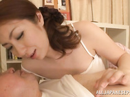 Mature babe Aoi Aoyama cock sucking housewife.