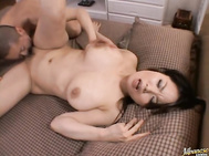 Miki Sato is in the bathroom washing her big boobs at the sink when her guy comes in.
