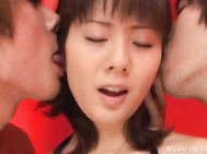 Naughty mature Tokyo babe gets fucked in a threesome.