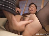 Insolent beauty is dressed in sexy pantyhose when the guy starts undressing her, enjoying his massive dick slowly cracking her wet cherry in one nasty and passionate hardcore fuck.