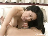 He enjoys her big tits, kissing and licking her body before she spreads her legs and he gets to give her a pussy licking.