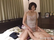 Sleazy and eager for a good stroking up her hairy pussy, Japanese mom Hisae Yabe, enjoys sex with horny younger guy who loves masturbating her wet cherry in advance to cracking it with his large dong.