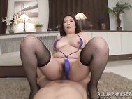 The crazy woman licks ass and deepthroats the guy's dick, and then gets totally wild and performs a hot cock riding action.