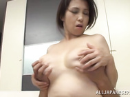 Her lover bruises and squeezes her lovely big tits and she gets impaled on his dong, bouncing on it for an orgasm!.