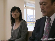 Unsatisfied Japanese mature lady enjoys stand fucking in public place.