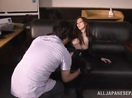 This hot MILF Julia is a huge fan of sexual adventures and this time she has put on sexy costume in order to excite her partner to a high level.