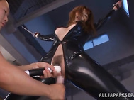 She is with her guy and she is playing with his cock