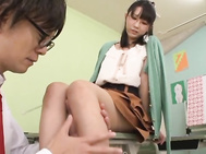 Nice teen with glasses Uruha Mizuki foot licking and foot job - Japanese Cosplay.