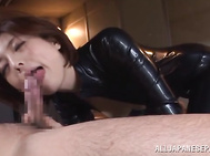 She's riding him deep while still in it, and has him cumming all over her lips when he pulls out.