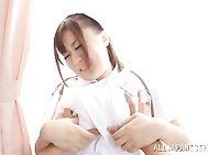 Lusty japanese nurse Nana Aoyama receives a great pussy stimulation while at work from one of her patients.