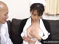Appetising mature Japanese AV model Eriko Miura is a nurse in a hospital, and she visits her horny boss in his cabinet.