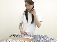 Sexy Japanese nurse in fancy pantyhose gives a blowjob and a ride.