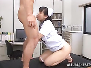 The hottie sits on the guy´s face and gets her horny pussy licked, and then gets impaled on his throbbing boner and rides him well, getting cum load in her sensuous mouth.