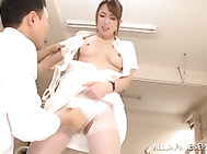 Horny little Japanese nurse Yui Hatano likes to get horny and enjoys large cocks while at work by teasing her patients and pleasing them with dirty blowjob and hardcore pussy fucking sessions.