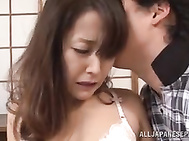 Amazing Asian housewife Nao Katoh gets her pink shaved pussy plowed.