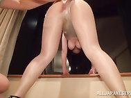 Sexy big tit Japanese babe Koyomi Yukihira is enjoying a wonderful time with a guy who is banging her wet twat from behind with hard strokes.