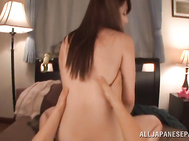 Then she performs a crazy cock riding, and catches cumshot in her insatiable mouth.